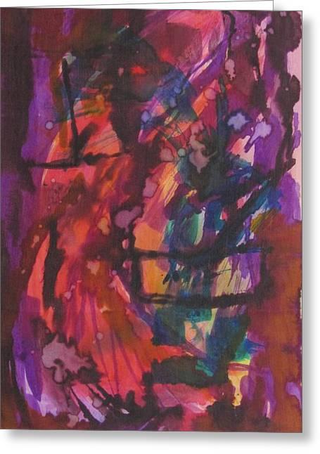 Joyful Tapestries - Textiles Greeting Cards - Purple Prayer Greeting Card by Beena Samuel