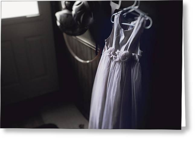 Entrance Door Greeting Cards - Purple Princess Dress Hanging In A Greeting Card by Patrick La Roque