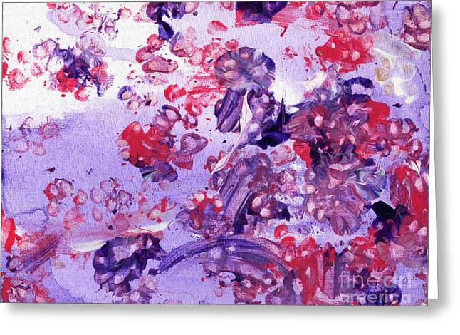 Purple Puppy Passion Greeting Card by Antony Galbraith