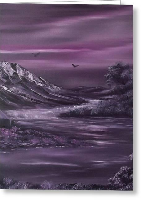 Bob Ross Paintings Greeting Cards - Purple Rain 2 Greeting Card by Cynthia Adams