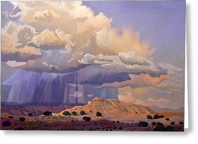 Pinion Paintings Greeting Cards - Purple Rain Greeting Card by Art James West