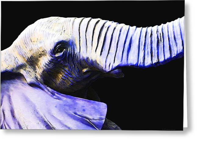 Jungle Animals Greeting Cards - Purple Rein - Vibrant Elephant Head Shot Art Greeting Card by Sharon Cummings