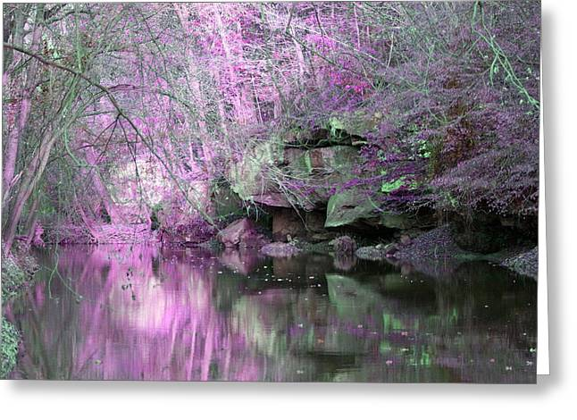 Most Favorite Digital Greeting Cards - Purple Rock Reflection Greeting Card by Lorna Rogers Photography