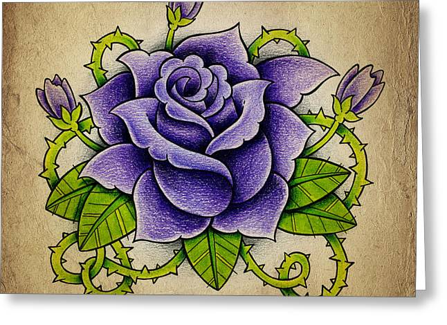 New School Greeting Cards - Purple Rose Greeting Card by Samuel Whitton