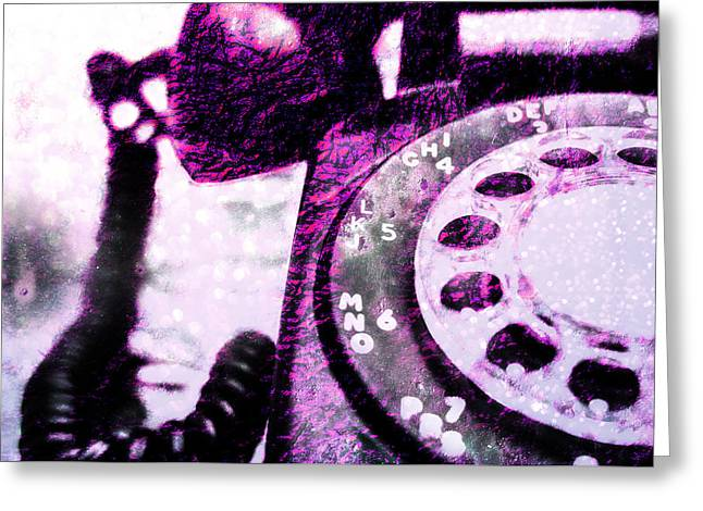 Purple Rotary Phone Greeting Card by Jon Woodhams