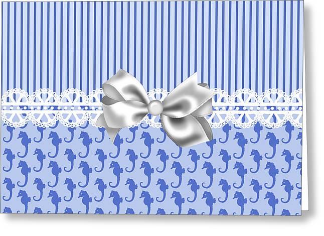Seahorse Digital Art Greeting Cards - Purple Seahorses Greeting Card by DMiller