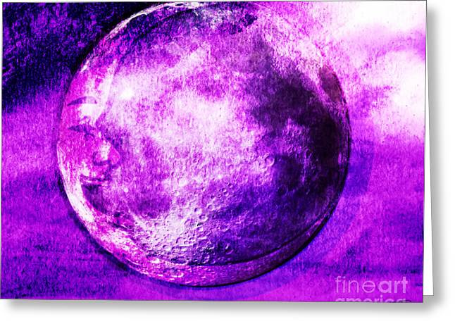 Nursery Rhyme Mixed Media Greeting Cards - Purple side of the moon Greeting Card by Mindy Bench