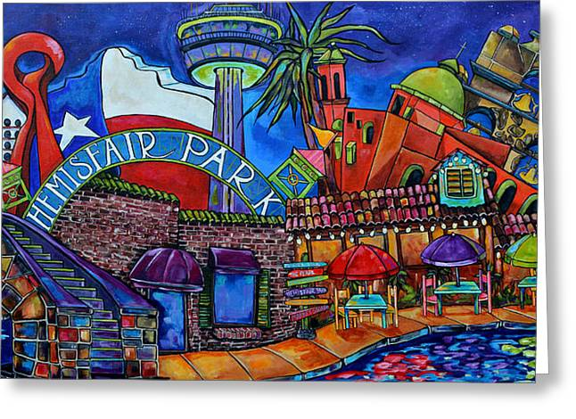 Riverwalk Greeting Cards - Purple Skies Over San Antonio Greeting Card by Patti Schermerhorn