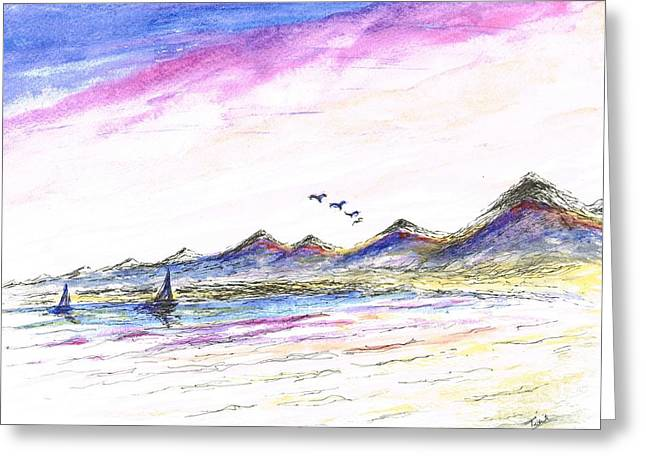 Flying Seagull Mixed Media Greeting Cards - Purple Skies Greeting Card by Teresa White