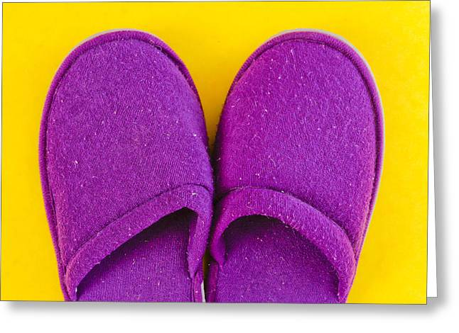 Purple slippers Greeting Card by Tom Gowanlock