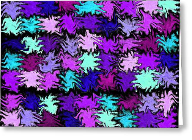 Unique Quilts Greeting Cards - Purple Squiggle Quilt Abstract Greeting Card by Karen Adams