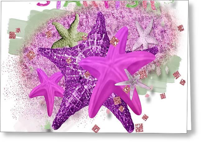 Seastar Digital Art Greeting Cards - Purple Starfish Greeting Card by Debra  Miller