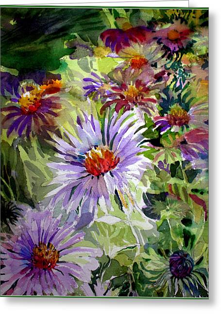 Aster Greeting Cards - Purple Stem Asters Greeting Card by Mindy Newman