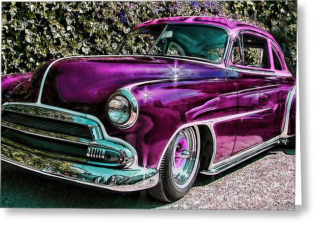 Purple Street Cruiser Greeting Card by Samuel Sheats