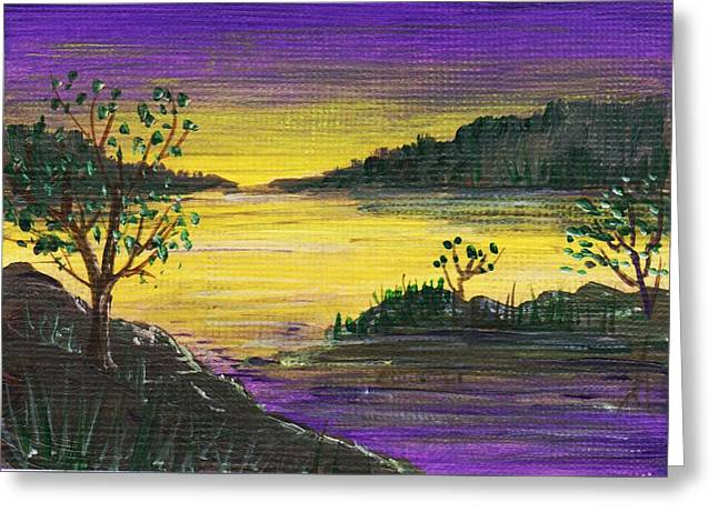 Sunset Posters Drawings Greeting Cards - Purple Sunset Greeting Card by Anastasiya Malakhova
