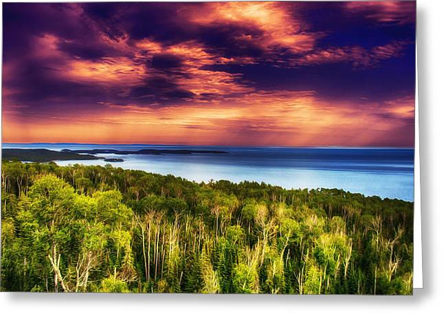 Lush Green Digital Greeting Cards - Purple Sunset Approach Greeting Card by Bill Tiepelman