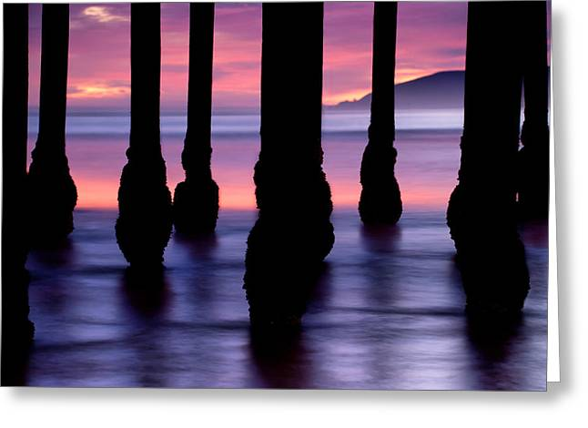Purple Sunset At Pismo Beach Greeting Card by Gregory Ballos