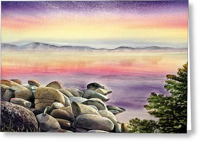 Purple Sunset At The Lake Greeting Card by Irina Sztukowski