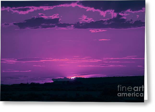 Sunset Framed Prints Digital Greeting Cards - Purple Sunset Greeting Card by Beverly Guilliams