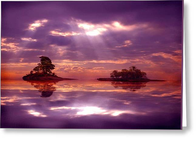 Fantasy Tree Greeting Cards - Purple Sunset Greeting Card by Lilia D