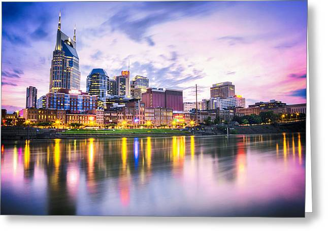 Nashville Tennessee Greeting Cards - Purple Sunset Greeting Card by Lucas Foley