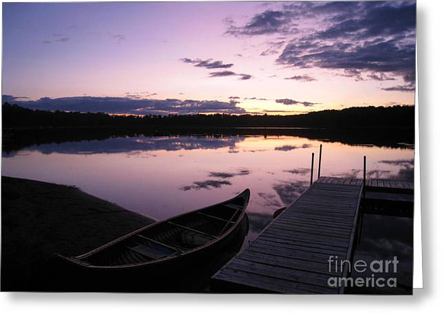 Canoe Photographs Greeting Cards - Purple Sunset Greeting Card by Nancy Anderson