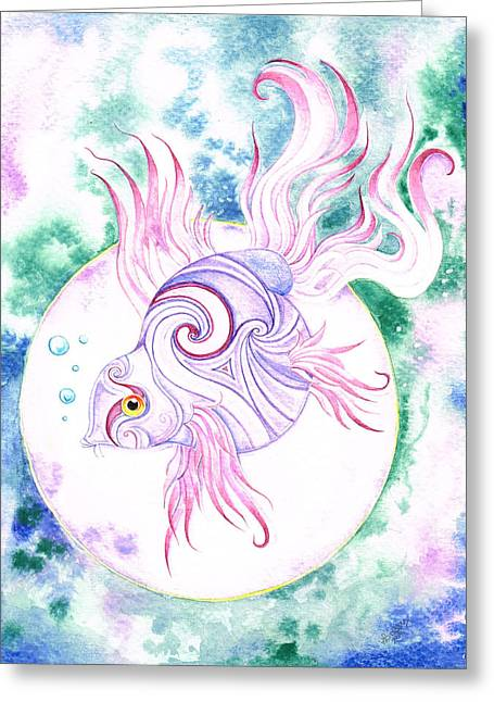 Water Scape Greeting Cards - Purple Swirled Fairy Fish Greeting Card by Heather Bradley