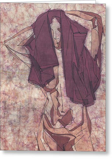 Nude Tapestries - Textiles Greeting Cards - Purple Towel Greeting Card by Kevin Houchin