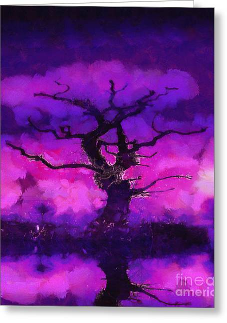 Firey Greeting Cards - Purple tree of life Greeting Card by Pixel Chimp