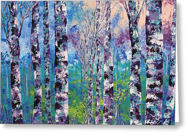 Pallet Knife Greeting Cards - Purple trees Greeting Card by Shilpi Singh