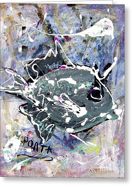 Triggerfish Paintings Greeting Cards - Purple Triggerfish Greeting Card by Dustin Porta