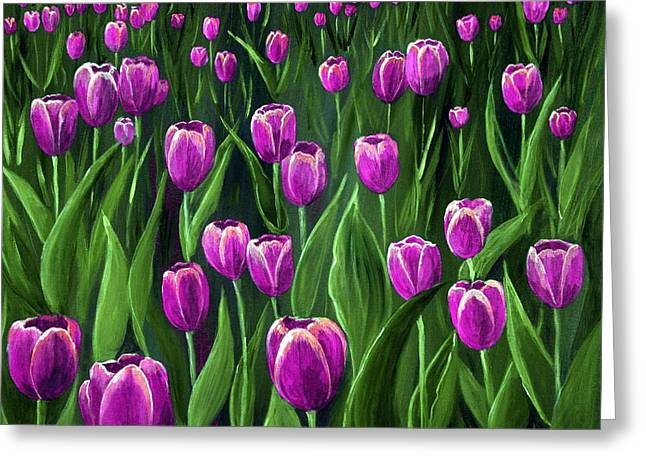 Get Well Flowers Greeting Cards - Purple Tulip Field Greeting Card by Anastasiya Malakhova