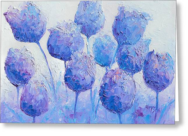 Blue And Purple Abstract Greeting Cards - Purple Tulips Greeting Card by Jan Matson