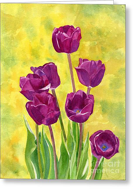 Violet Art Greeting Cards - Purple Tulips with Textured Background Greeting Card by Sharon Freeman