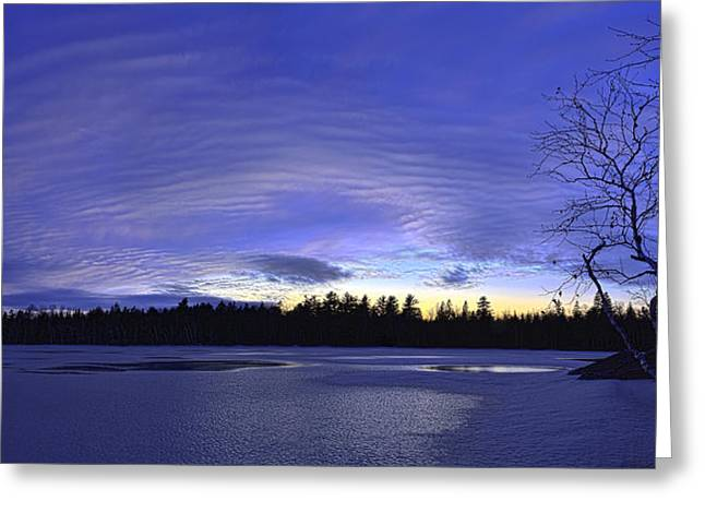 Snow Scene Landscape Greeting Cards - Purple Twilight Panorama Greeting Card by Bill Caldwell -        ABeautifulSky Photography