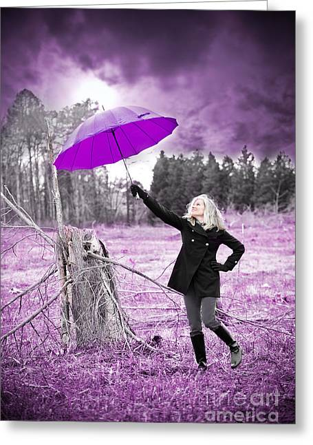Purple Umbrella Greeting Card by Jt PhotoDesign