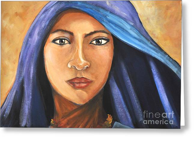 Northern Africa Paintings Greeting Cards - Purple Veil Greeting Card by Daniela Abrams