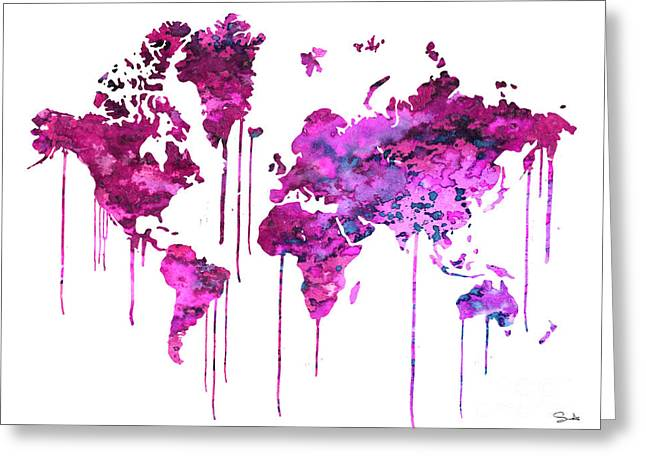 Purples Greeting Cards - Purple WATERCOLOR MAP Greeting Card by Luke and Slavi