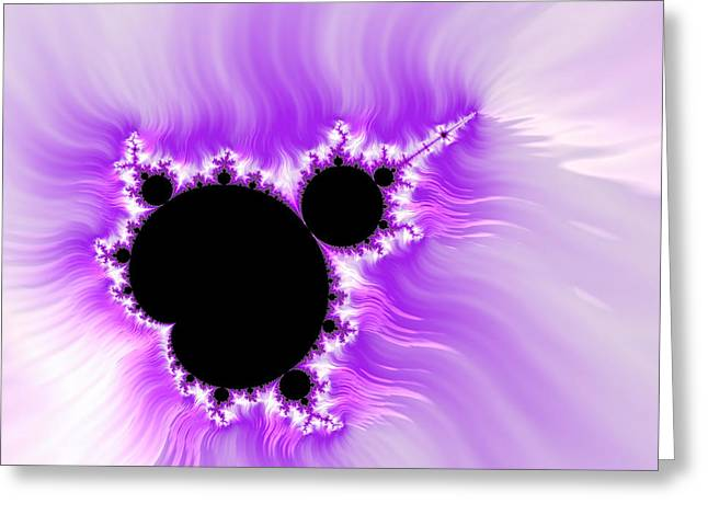 Purple white and black mandelbrot set digital art Greeting Card by Matthias Hauser