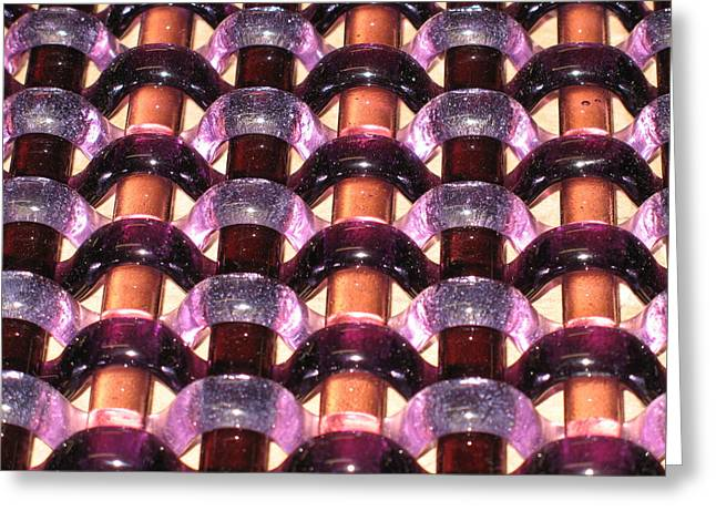 Fused Glass Art Greeting Cards - Purple Woven Glass Greeting Card by Steven Schramek