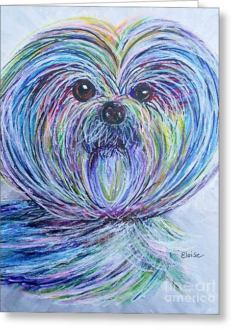 Owner Greeting Cards - Purse Pup Portrait Greeting Card by Eloise Schneider