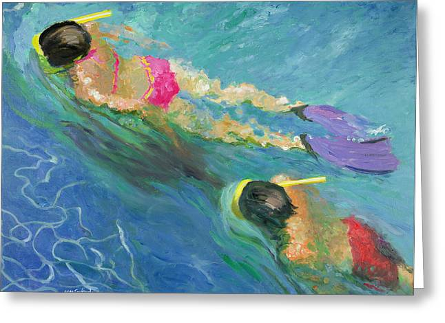 Swimmers Greeting Cards - Pursuit, 2005 Oil On Board Greeting Card by William Ireland