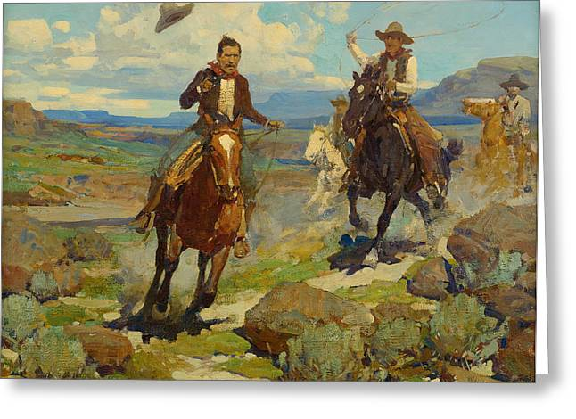 Thief Paintings Greeting Cards - Pursuit of a Cattle Thief Greeting Card by Frank Tenney Johnson