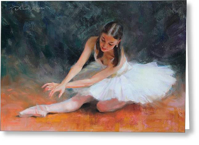 Tutus Paintings Greeting Cards - Pursuit of Perfection Greeting Card by Anna Rose Bain