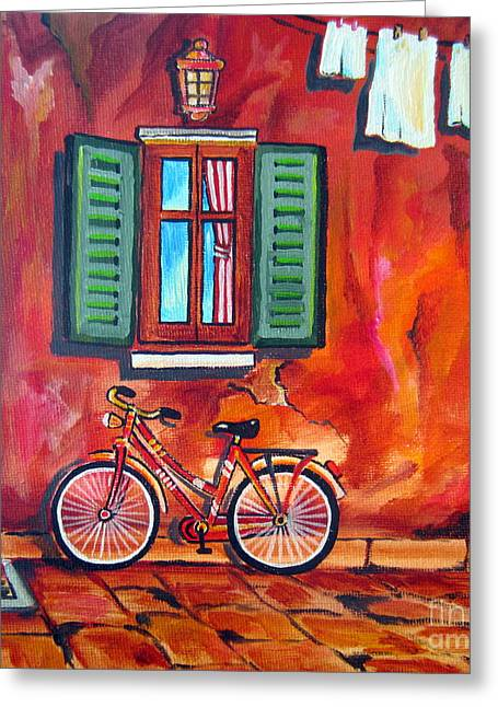 Pushbike Greeting Cards - Pushbike in a Roma Alley Greeting Card by Roberto Gagliardi