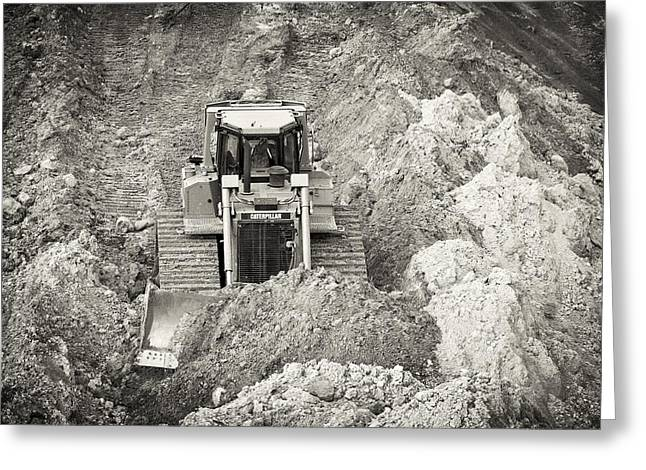 Dozer Greeting Cards - Pushing Dirt Greeting Card by Patrick M Lynch