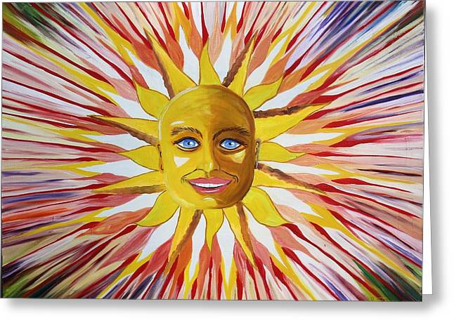 Prisma Colored Pencil Paintings Greeting Cards - Pushing Sun Greeting Card by Ru Tover