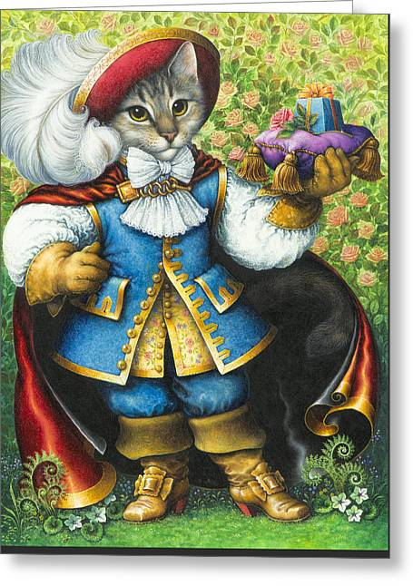 Puss Greeting Cards - Puss-In-Boots Greeting Card by Lynn Bywaters
