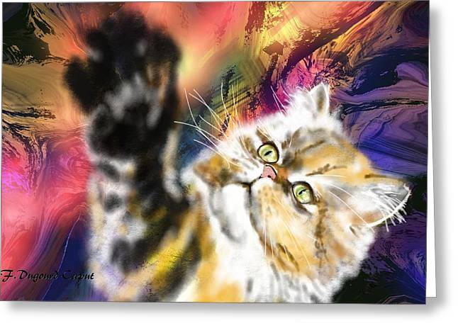 Abstract Cat Greeting Cards - Pussy Greeting Card by Francoise Dugourd-Caput