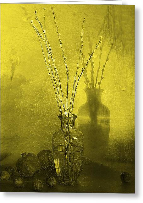 Pussy Willow Framed Prints Greeting Cards - Pussy Willow in Yellow Greeting Card by Frida  Kaas